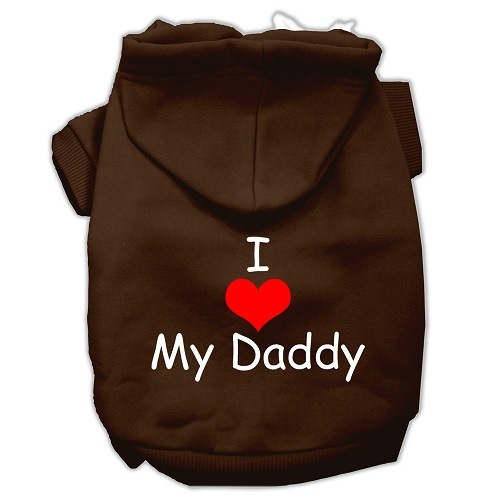 I Love My Daddy Screen Print Pet Hoodie - Brown | The Pet Boutique