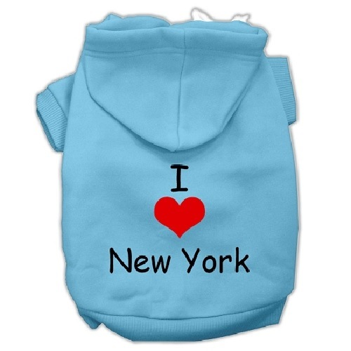 I Love New York Screen Print Pet Hoodie - Baby Blue   The Pet Boutique
