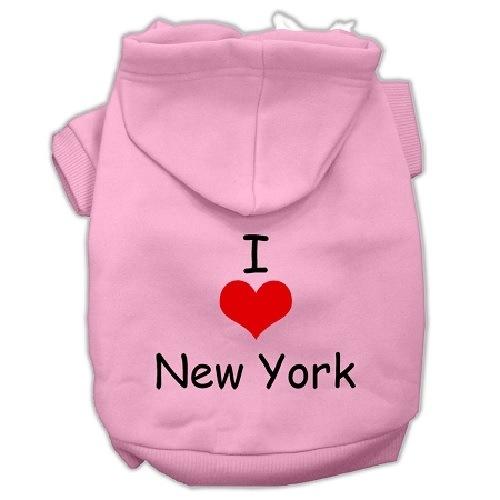 I Love New York Screen Print Pet Hoodie - Light Pink   The Pet Boutique