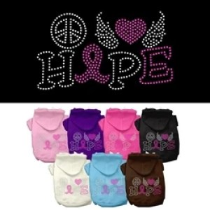 Peace Love Hope Breast Cancer Rhinestone Pet Hoodie | The Pet Boutique