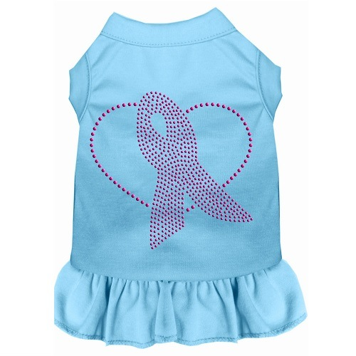 Pink Ribbon Rhinestone Pet Dress - Baby Blue | The Pet Boutique