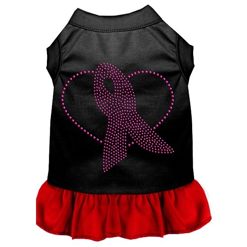 Pink Ribbon Rhinestone Pet Dress - Black with Red | The Pet Boutique