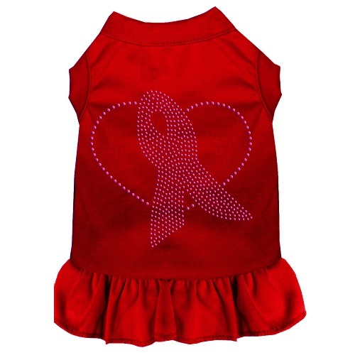 Pink Ribbon Rhinestone Pet Dress - Red | The Pet Boutique