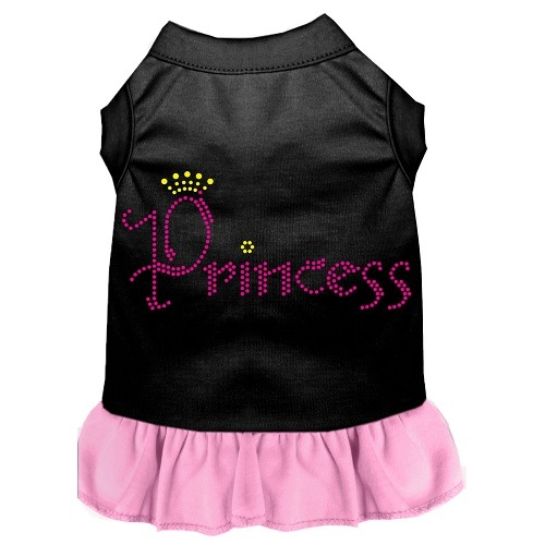 Princess Rhinestone Pet Dress - Black with Light Pink | The Pet Boutique