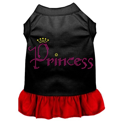 Princess Rhinestone Pet Dress - Black with Red | The Pet Boutique