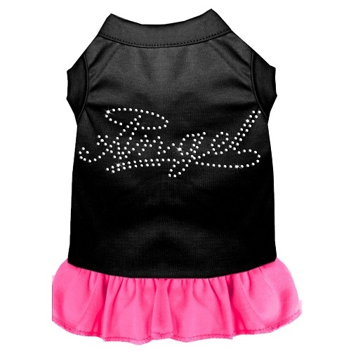 Rhinestone Angel Pet Dress - Color Combo - Black with Bright Pink | The Pet Boutique