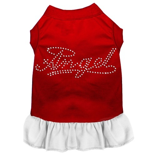 Rhinestone Angel Pet Dress - Color Combo - Red with White | The Pet Boutique
