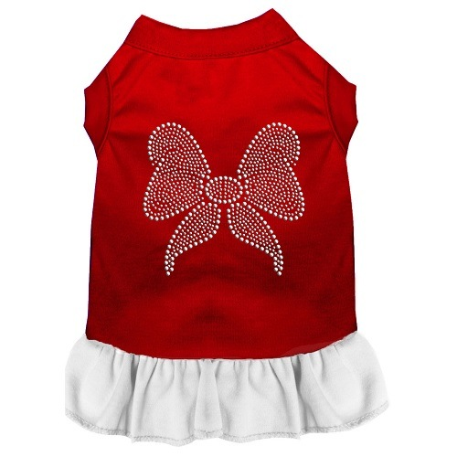 Rhinestone Bow Pet Dress - Color Combo - Red with White | The Pet Boutique