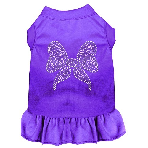 Rhinestone Bow Pet Dress - Purple | The Pet Boutique