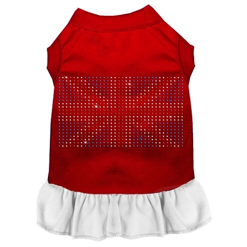 Rhinestone British Flag Pet Dress - Color Combo - Red with White | The Pet Boutique