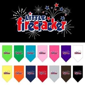 Little Firecracker Screen Print Pet Bandana   The Pet Boutique
