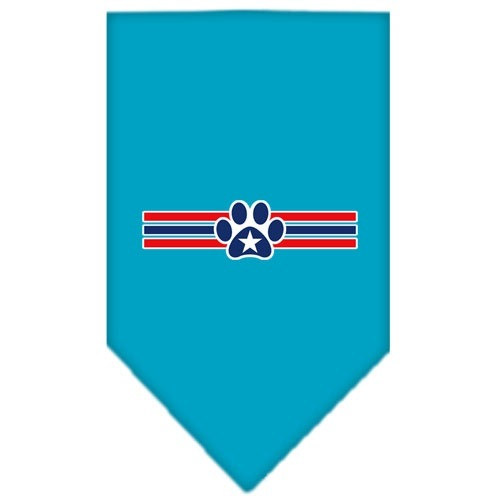 Patriotic Star Paw Screen Print Dog Bandana - Turquoise | The Pet Boutique