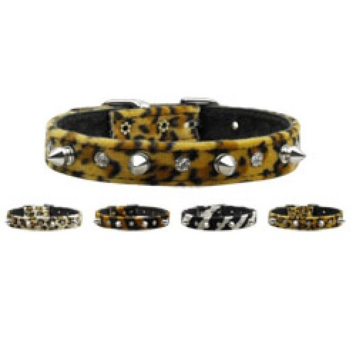 Animal Print Crystal Jewel and Spike Dog Collar   The Pet Boutique