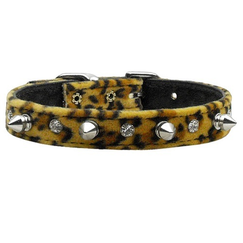 Animal Print Crystal Jewel and Spike Dog Collar - Leopard   The Pet Boutique