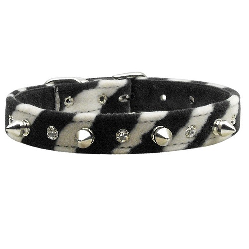 Animal Print Crystal Jewel and Spike Dog Collar - Zebra   The Pet Boutique