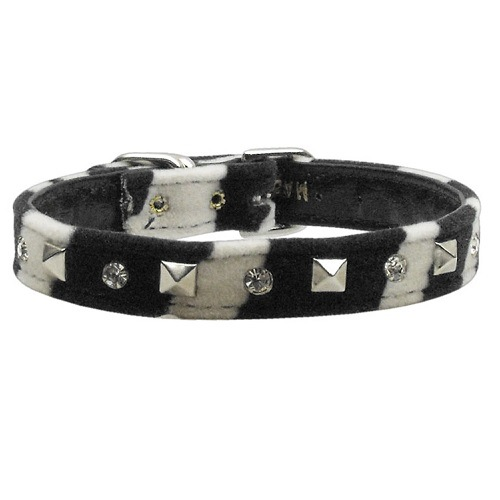 Animal Print Crystal and Pyramid Dog Collar - Zebra | The Pet Boutique