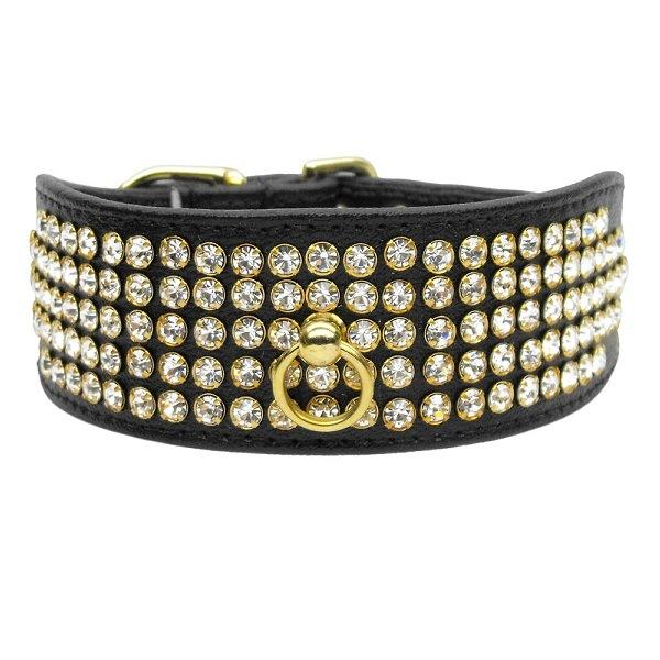 Clear Crystal 5 Row Mirage Dog Collar - Black | The Pet Boutique