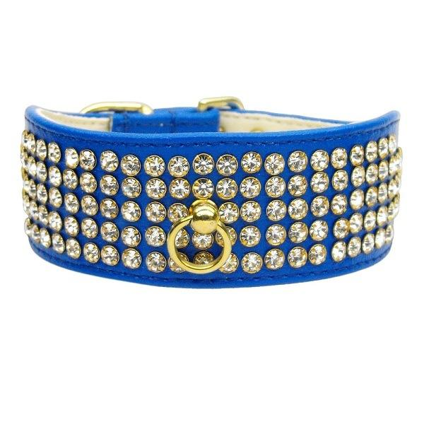 Clear Crystal 5 Row Mirage Dog Collar - Blue | The Pet Boutique