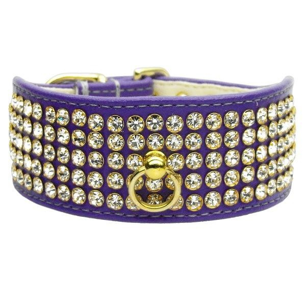 Clear Crystal 5 Row Mirage Dog Collar - Purple | The Pet Boutique