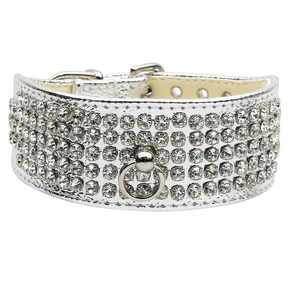Clear Crystal 5 Row Mirage Dog Collar - Silver | The Pet Boutique