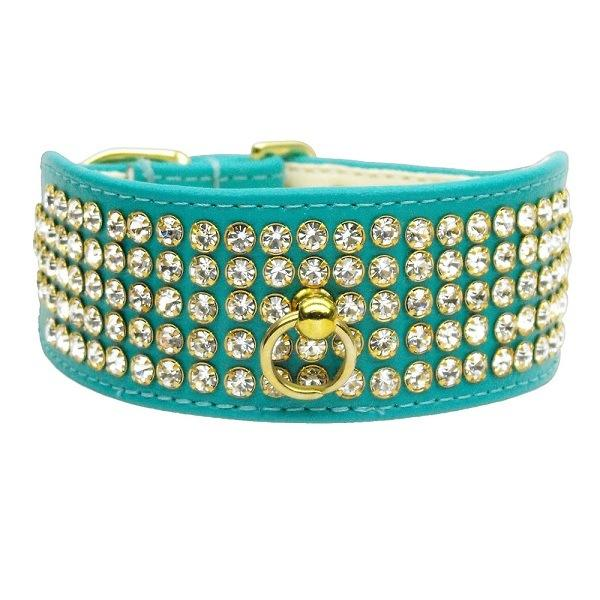 Clear Crystal 5 Row Mirage Dog Collar - Turquoise | The Pet Boutique