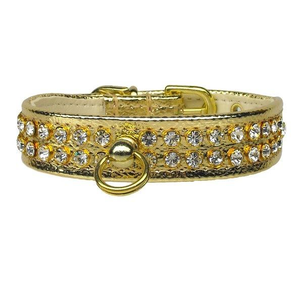 Clear Crystal #72 Dog Collar - Gold | The Pet Boutique