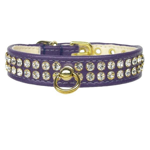 Clear Crystal #72 Dog Collar - Purple | The Pet Boutique