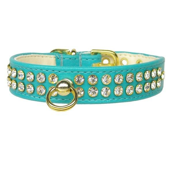 Clear Crystal #72 Dog Collar - Turquoise | The Pet Boutique