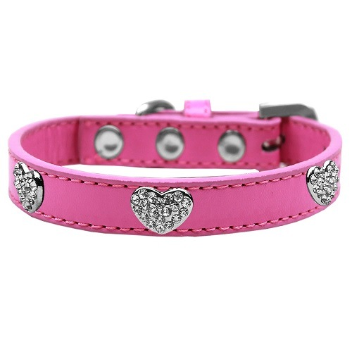 Crystal Heart Dog Collar - Bright Pink | The Pet Boutique