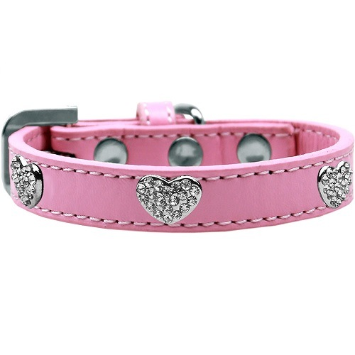 Crystal Heart Dog Collar - Light Pink | The Pet Boutique