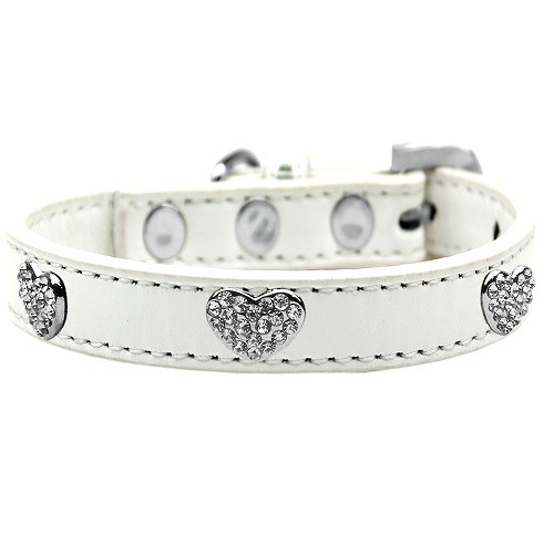 Crystal Heart Dog Collar - White | The Pet Boutique