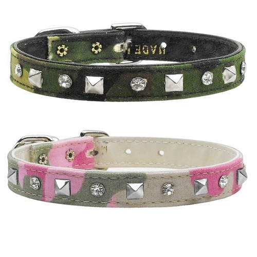 Crystal and Pyramid Camo Dog Collar | The Pet Boutique