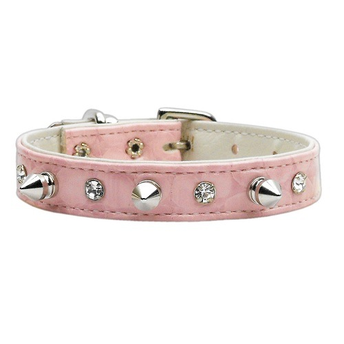 Faux Snake Skin Crystal and Spike Dog Collar - Pink | The Pet Boutique