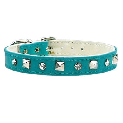 Just the Basics Crystal and Pyramid Dog Collar - Turquoise | The Pet Boutique