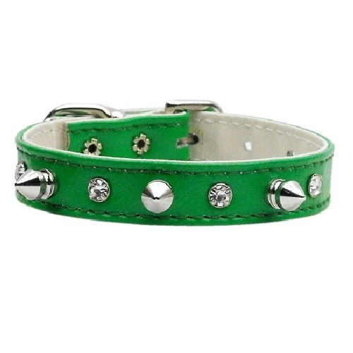 Just the Basics Crystal and Spike Dog Collar - Emerald Green   The Pet Boutique