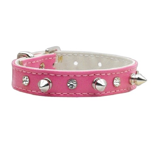 Just the Basics Crystal and Spike Dog Collar - Pink   The Pet Boutique