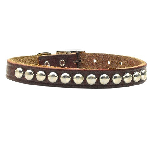 Leather Stud Dog Collar - Burgundy | The Pet Boutique