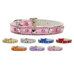Metallic Crystal and Pyramid Dog Collar | The Pet Boutique