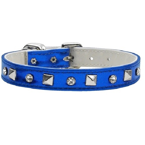 Metallic Crystal and Pyramid Dog Collar - Blue | The Pet Boutique
