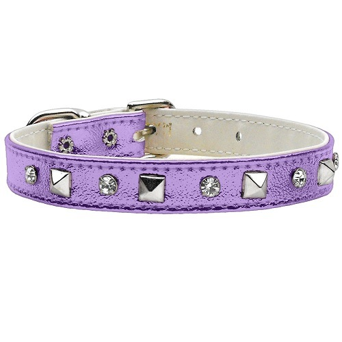 Metallic Crystal and Pyramid Dog Collar - Purple | The Pet Boutique