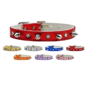Metallic Crystal and Spike Dog Collar | The Pet Boutique