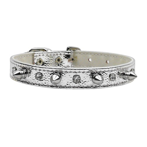 Metallic Crystal and Spike Dog Collar - Silver   The Pet Boutique