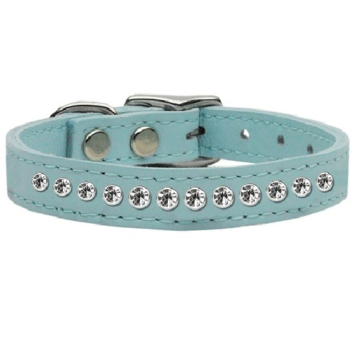 One Row Clear Jeweled Leather Dog Collar - Baby Blue | The Pet Boutique
