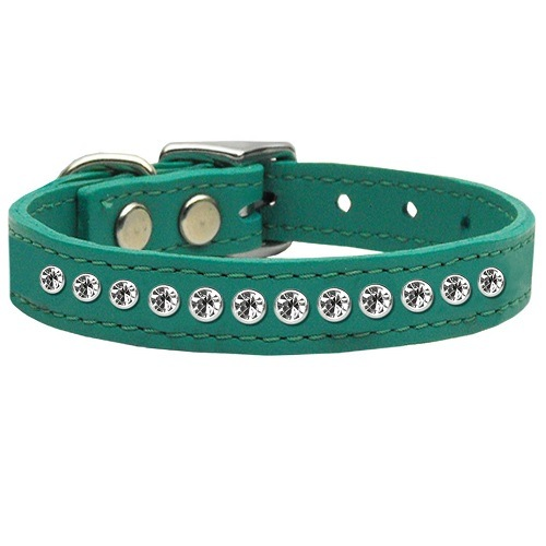 One Row Clear Jeweled Leather Dog Collar - Jade | The Pet Boutique