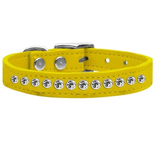 One Row Clear Jeweled Leather Dog Collar - Yellow | The Pet Boutique