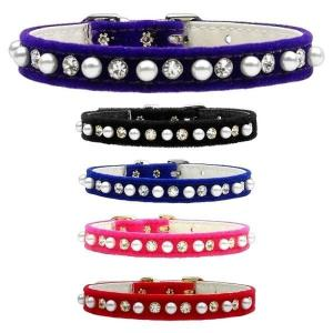 Velvet 3_8 Pearl and Clear Crystal Dog Collar   The Pet Boutique