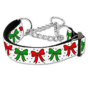 Christmas Bows Nylon and Ribbon Martingale Dog Collar | The Pet Boutique