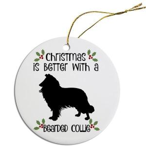Round Christmas Ornament - Bearded Collie   The Pet Boutique