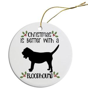 Round Christmas Ornament - Bloodhound   The Pet Boutique