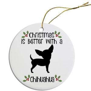 Round Christmas Ornament - Chihuahua   The Pet Boutique